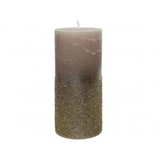 candela pilastro di cera con glitter