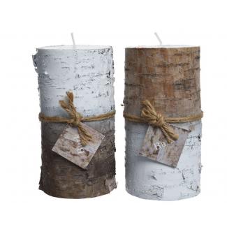 Candela pilastro in cera di betulla 2 colori assortiti diametro cm 7 x h 14