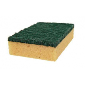 Spugna con fibra abrasiva verde, 14X9 cm, in confezione da 15 pezzi