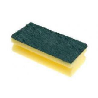 Spugna sagomata con fibra abrasiva verde, 15X7 cm, in confezione da 6 pezzi