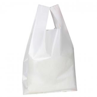 Shopper bianco in plastica politene LD,  101my, con maniglia a canottiera