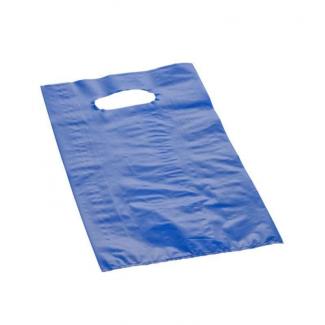 shopper in plastica hdpe blu con maniglia fustellata a fagiolo, confezione da 5 kg.