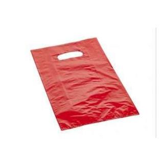 shopper in plastica hdpe rossa, con maniglia fustellata a fagiolo, confezione da 5 kg.