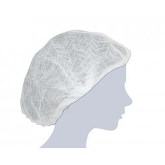 Cuffia plisse' monouso TNT bianco, confezione da 100 pezzi
