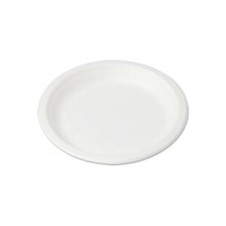 Piatto piano tondo mini diametro 15.5cm in polpa di cellulosa biodegradabile confezione da 50 pezzi