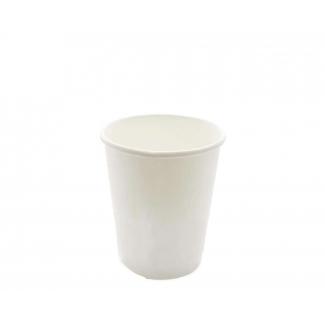 Bicchiere termico in cartoncino bianco biodegradabile e compostabile per bevande calde e fredde