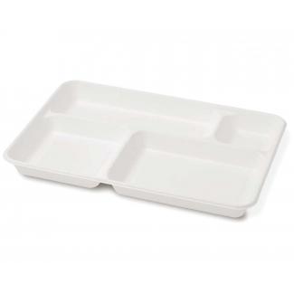 Vassoio 4 scomparti in polpa di cellulosa biodegradabile formato 27x37cm confezione da 20 pezzi