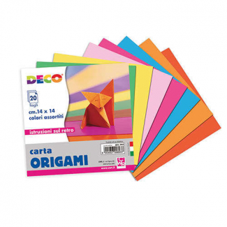 Fogli carta per origami, 14x14cm, colori assortiti, confezione da 20 fogli