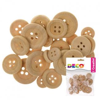 Bottone in legno, diametro assortito, colore naturale, confezione da 30 pezzi