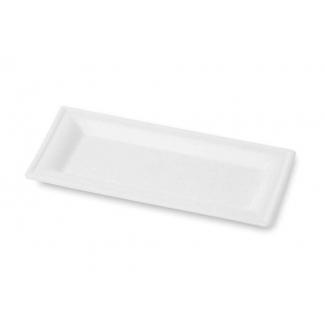 Piatto rettangolare 26x13cm in polpa di cellulosa biodegradabile confezione da 50 pezzi