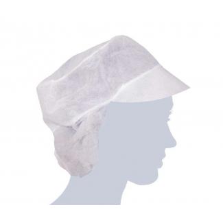 Berretto TNT bianco con visiera e raccoglicapelli confezione da 100 pezzi