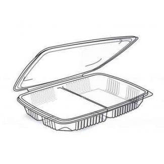 vaschetta microonde con coperchio in pp con 2 scomparti per uso caldo in confezione da 20 pezzi