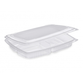 vaschetta microonde con coperchio in pp con 3 scomparti per uso caldo in confezione da 20 pezzi