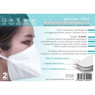 Mascherina bianca in tessuto idrorepellente a 3 strati, in confezione da 2 pezzi