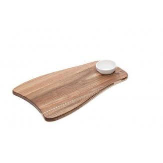 Tagliere in legno con ciotola porta salse in melamina bianca 25x39cm.