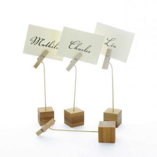 Cubetto porta etichette in bamboo con molletta confezione da 12 pezzi