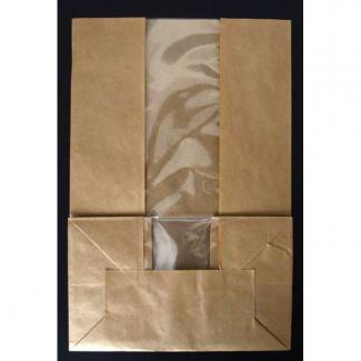 Sacchetto fondo quadro in kraft avana con finestra, base 18x11 h26cm, confezione da 125 pezzi