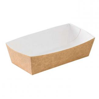 Vaschetta in cartoncino kraft avana antiunto con interno bianco confezione da 100 pezzi