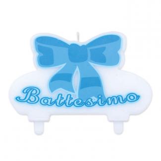 """Candela sagomata con scritta """"il mio battesimo"""", colore azzuro"""