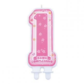 Candela sagomata numero 1 rosa con scritta buon compleanno cm 6