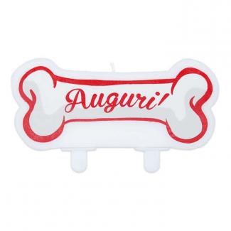Candela sagomata festa per cani con scritta auguri bianco rosso cm 11