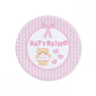 Piatto piano in cartoncino, battesimo orsetto rosa, confezione da 8 pezzi