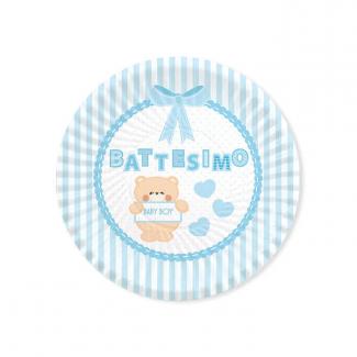 Piatto piano in cartoncino, battesimo orsetto celeste, confezione da 8 pezzi