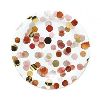 Piatto piano in cartoncino coriandoli rosa confezione da 8 pezzi