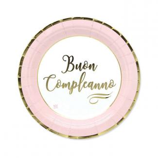 Piatto piano cartoncino buon compleanno chic rosa confezione da 8 pezzi