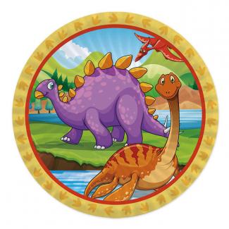 Piatto piano cartoncino fantasia dinosauri confezione da 8 pezzi