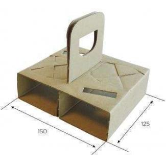 Cestino portabicchieri 2 fori con maniglia in cartoncino avana confezione da 100 pezzi