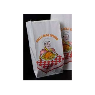 Sacchetto in carta foderato 70gr.  per polli allo spiedo, confezione da 15 kg.