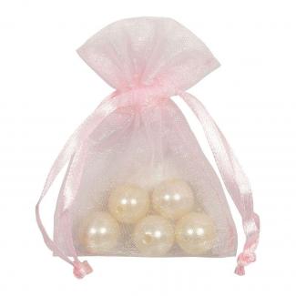 Sacchetto in organza rosa con tirante, confezione da 10 pezzi
