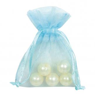 Sacchetto in tessuto organza azzurro con tirante, confezione da 10 pezzi