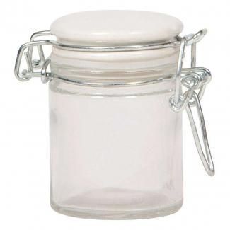 Vasetto in vetro da 50 ml, con base tonda e chiusura ermetica con tappo bianco in ceramica