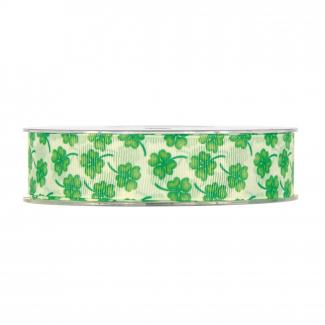 rotolo nastro con disegno quadrifogli bianco verde mm 25 x 15 mt