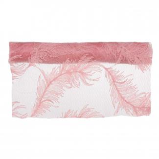rotolo runner con piume rosa cm 29 x 2.5 mt