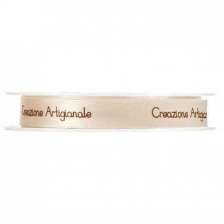 rotolo nastro crema con scritta creazione artigianale marrone mm 12 x 25 mt