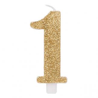 Candela con supporto, alta 9.5cm oro glitterata