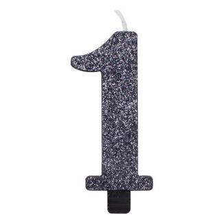 Candela con supporto, alta 9.5cm nera glitterata