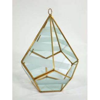 Portacandela in vetro e metallo oro cm 17 x 17 x 23
