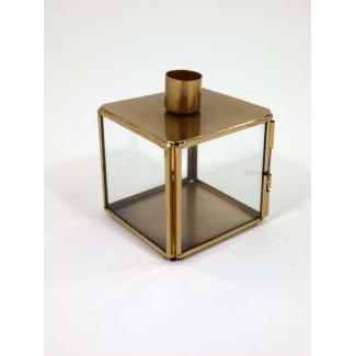 Portacandela in vetro e metallo oro cm h 10