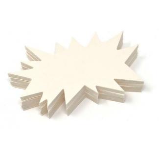 Segnaprezzo in cartoncino, forma flash, 10x5.5cm, colore avorio, confezione da 50 pezzi