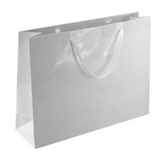 Shopper elegant bianco plastificato lucido con maniglia in cordone di cotone