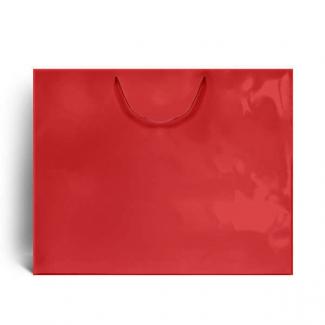 Shopper elegant rosso plastificato lucido con maniglia in cordone di cotone