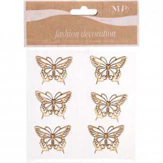 Adesivo in legno farfalla naturale cm 4 x 3.2 confezione da 6 pezzi