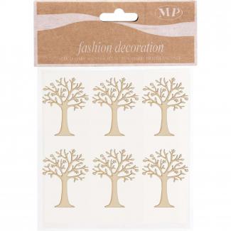 Adesivo in legno albero della vita naturale cm 5 x 3 confezione da 6 pezzi