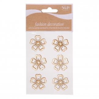 Adesivo in legno fiore naturale cm 3 confezione da 6 pezzi