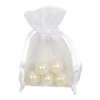 Sacchetto in organza bianco con tirante, confezione da 10 pezzi