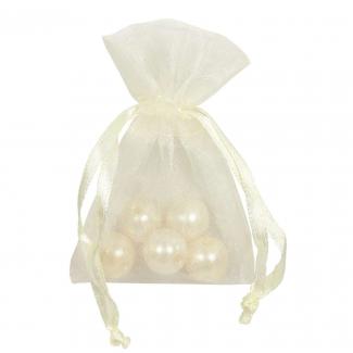 Sacchetto in organza crema con tirante, confezione da 10 pezzi